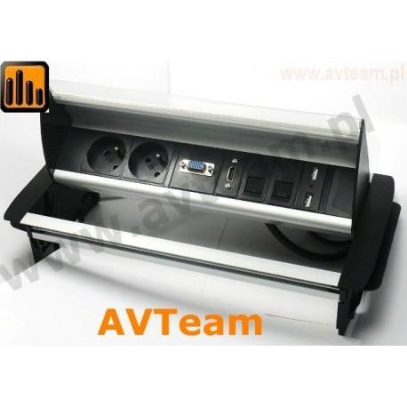 Tablebox 2x230V, 2xRJ45, HDMI, VGA, 2x USB TBB-3