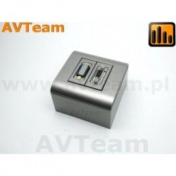 VGA + HDMI puszka natynkowa srebrna