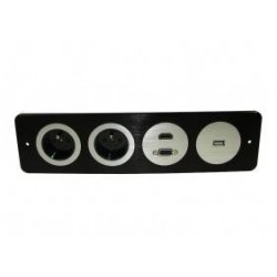 MEDIA PORT COVA 2*230V 1*HDMI 1*VGA 1*USB CZARNY